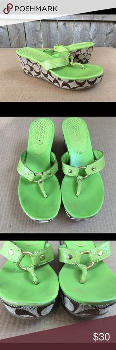 Womens Coach Monogram Green Sandal Wedges Coach Women's Neon Green Brown Monogram Print Heel Wedges   Size 6.5m  Used condition has scuffs and general wear but not much wear on the bottoms!  No box!  If you have any questions please message me thanks!  Check out my other listings! Coach Shoes Sandals