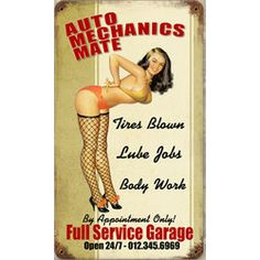 Auto Mechanics Mate Metal Sign