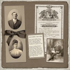 Another great way to display old family photographs. I, however, would use photocopies of the original in a layout such as this to avoid damaging the originals.