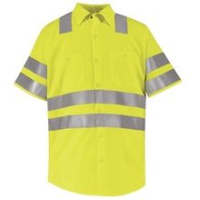 Hi-Visibility Green Short Sleeve Shirt - Class 3 Level 2 By Red Kap - Green Shorts, Work Shirts, Work Wear, Men Casual, Mens Tops, Sleeve, Red, Safety, Free Shipping