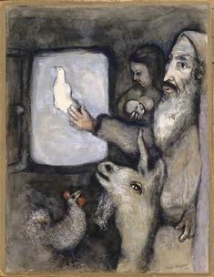 Noah lets go the dove through the window of the Ark (Genesis VIII, 6 9), 1931 ~ Marc Chagal
