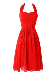Simple Halter A-Line Ruffles Red Short Bridesmaid Dress