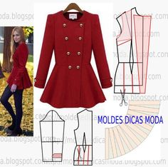 Tutorial & Free Pettern for Peplum Jacket - You could easily spend hundreds on a nice peplum jacket, make this badboy for cheap XD Coat Patterns, Sewing Patterns Free, Clothing Patterns, Dress Patterns, Sewing Coat, Sewing Clothes, Diy Kleidung, Diy Couture, Diy Fashion