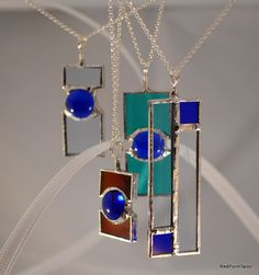 Art Deco inspired pendants - RedPointTailor.etsy.com #StainedGlassJewelry