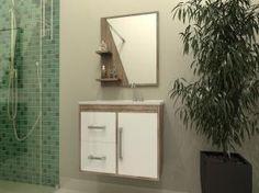 Gabinete para Banheiro com Cuba e Espelho 1 Porta - 2 Gavetas - Móveis Bechara Madri