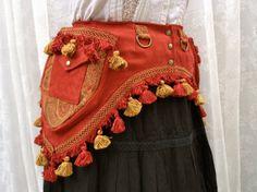 Red steampunk utility belt - fancy pocket belt with tassels - tribal fusion pocket belt - vegan utility belt - Small