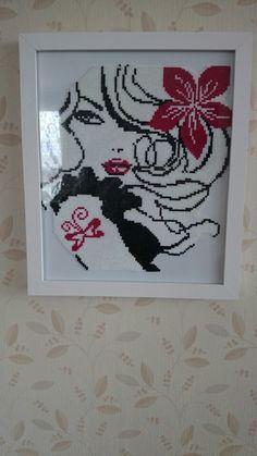 Pretty lady portrait hama mini beads - Pattern: https://www.pinterest.com/pin/374291419011477819/