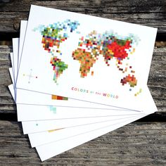 Pixel Map 'Colors of the World' Print Set of 6. $24.00, via Etsy.