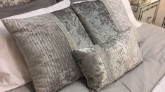 Large Silver Velvet Diamond Banded Cushion - Luxurious, soft crushed velvet removable cushion cover with cushion pad.  #MirroredFurniture #PicturePerfectHome #DesignerFurniture #Sparkle #Glam #GlassFurniture #InteriorDesign #HomeDecor #HomeDesign #Furniture #Cushion #SequinCushion #MermaidCushion