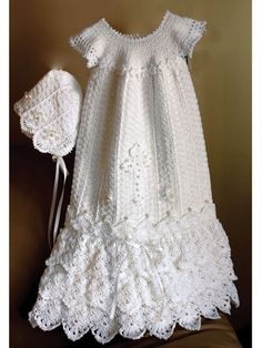 If you have been searching for something special, something so stunning for that most memorable moment of new beginnings, you have found it. This gown will be an heirloom to pass on for generations. Instructions are included for a gown and bonnet plus a cross and beaded flower appliques. Sizes span from Preemie to 12 months. It is made using size 10 crochet cotton thread.