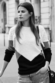 Colourblock Fringe Sweater