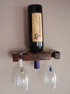 Single Bottle Wall Mount Wine Rack Display by AdliteCreations