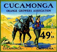 Cucamonga Forty-Nine 49er Mountain Man Orange Citrus Fruit Crate Box Label Art Print. $9.99, via Etsy.