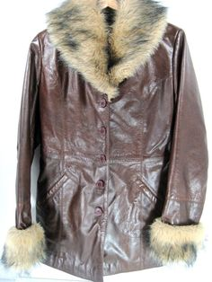 Wilson Leather Women Coat Size Small Brown Faux Fur Collar & Cuffs Button Up #WilsonsLeather #BasicJacket