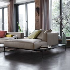 +love idea of side board along couch for drinks, etc  Jaan Living | Walter Knoll