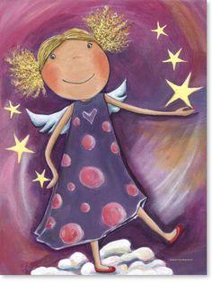 Bilder Kinderzimmer auf Leinwand gedruckt für Jungen und Mädchen | Motiv: #Engel, Schutzengel  - Malstil: Acrylbilder für Kinder im Alter von 0 - 14 Jahren.