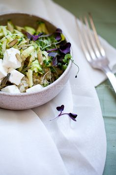 Zucchini Quinoa Salad with Microgreens from @Sylvie | Gourmande in the Kitchen