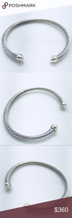David Yurman Silver Dome Bracelet w Gold Bands 100% Authentic Pre-Owned Fast and Safe Shipping  Trusted Seller I've Had Countless Sales without a Hitch!  I Accept Offers! Professionally Polished to Look New Comes with Pouch No Stains, Missing Stones, Tarnishes, etc Really Looks New!  925 Sterling Silver 18K Yellow Gold Cable, 5mm wide David Yurman Jewelry Bracelets