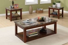 49cc24320c9f3e Dramatic design of a coffee table set featuring marble finish counter tops  with dark wood finish frames. Each piece includes a lower shelf for storing  ...