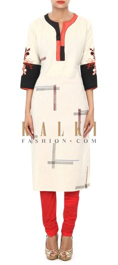 Buy Online from the link below. We ship worldwide (Free Shipping over US$100) Price- $29 Click Anywhere to Tag http://www.kalkifashion.com/cream-kurti-embellished-in-print-and-contrast-placket-only-on-kalki.html