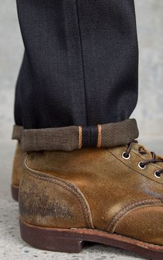 Jeans and worn finish Iron Rangers