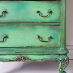 Sweet small dresser with various blends of Chalk Paint® by Annie Sloan with Antibes, Florence and Aubusson Blue and both Dark & Clear Chalk Paint® Wax.