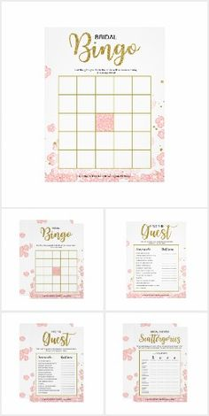 Pink and Gold Bridal Shower Games and Signs Fun wedding invites. Customize invitations for your weddings. #invitations #invites #weddings   #bridal - Affiliate ad link.