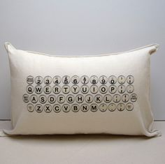 typewriter pillow cover by pilosale on Etsy
