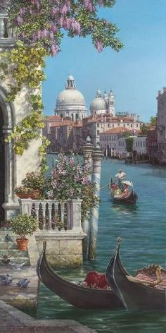 Venice Painting, Italy Painting, Aesthetic Painting, Aesthetic Art, Beautiful Paintings, Beautiful Landscapes, Landscape Art, Landscape Paintings, Oil Painting Abstract