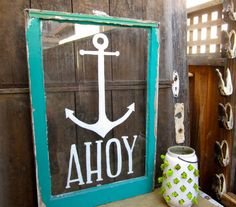 Reclaimed Window Sign Ahoy Turquoise Aqua by CityandSeaVintage, $100.00