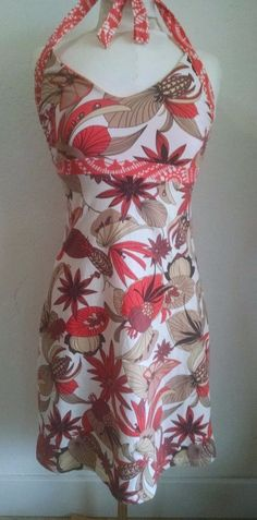 Patagonia Iliana Sundress S Orange Tropical Flowers Haltertop Organic Jersey #Patagonia #Sundress #Casual