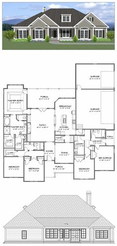 Plan SC-2700: 4 or 5 bedroom 3 bath home with a 3 car garage. The home has 2700 heated square feet. This plan along with many others is available for purchase online at stevecoxinc.net - All plans are available now, please contact us for more information.