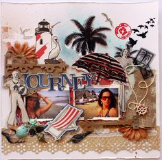 travel scrapbooking layout, beach scrapbooking page