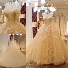 White or Ivory Flower Petals Ball Gown Wedding Dress, Bridal Gown, Custom Made