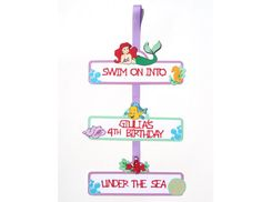 Items similar to Ariel Little Mermaid Themed Party Door Sign Personalized Birthday Decoration With Age and Name - Flounder and Sebastian on Etsy Princess Party Decorations, Birthday Decorations, Party Themes, Party Ideas, 2nd Birthday Parties, 4th Birthday, Personalized Signs, Door Signs, The Little Mermaid