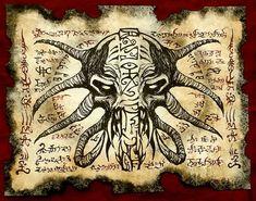Cthulhu larp DEMON MASK Necronomicon fragment Scroll by zarono