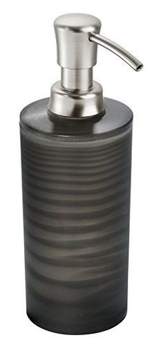 mDesign Soap & Lotion Dispenser, for Kitchen or Bathroom Countertops - Frost Black/Chrome