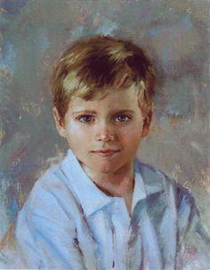 Wonderful head & shoulders oil portrait of a boy by a Portraits, Inc. artist.