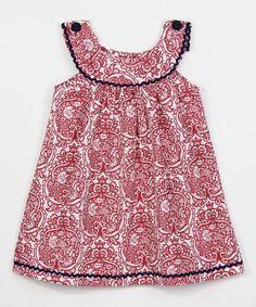 Another great find on #zulily! Red Damask Yoke Dress - Infant, Toddler & Girls #zulilyfinds