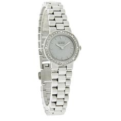 NEW CITIZEN ECO-DRIVE LADIES SILHOUETTE SERIES WATCH  - Polished Stainless Steel Case & Bracelet - Gray Dial - Silver Tone Hour & Minute Hands - Silver Tone Line Hour Markers - Swarovski Crystals On Bezel