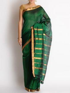 Green Cotton Silk Missing Stripes Zari Border Handwoven Saree