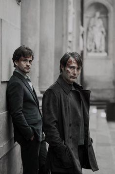 Hannibal BTS: Hugh Dancy & Mads Mikkelsen