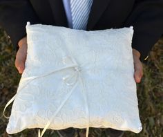 Ring Bearer Pillow made with ivory French alencon lace ~  www.CouturesbyLaura.Etsy.com ~ $45.99