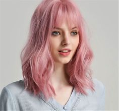Short Hair Wigs, Wigs With Bangs, Hairstyles With Bangs, Human Hair Wigs, Pink Short Hair, Baby Pink Hair, Peachy Pink Hair, Rose Pink Hair, Pastel Pink