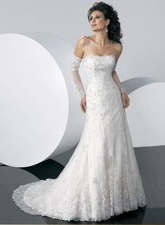 Graceful Strapless Applique Beads Working Lace Satin Chapel Train Wedding Dress for Brides