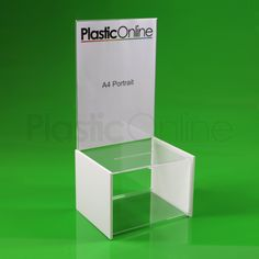 Brigg A4 Acrylic Suggestion Box. 110mm x 10mm slot will easily accept business cards, forms, coins, notes and most tokens.