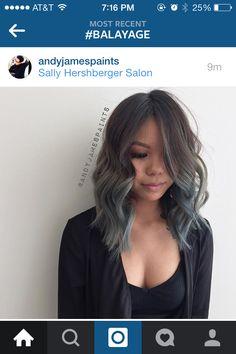 Below shoulder length lob, blue grey ombre