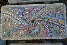 Picnic table Mosaic - inspired by Pinterest pins Mosaic Furniture, Picnic Tables, Mosaic Patterns, Mosaics, Tile, Projects To Try, Dessert, Inspired, Garden