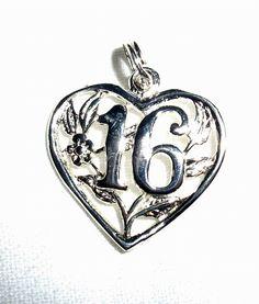 CHARM   SWEET 16  HEART  Filigree   Sterling by MOONCHILD111, $8.00