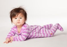 This Velour Footie in Lavender and Lilac is soft and spunky!  Go to magnificentbaby.com to find this item on sale!